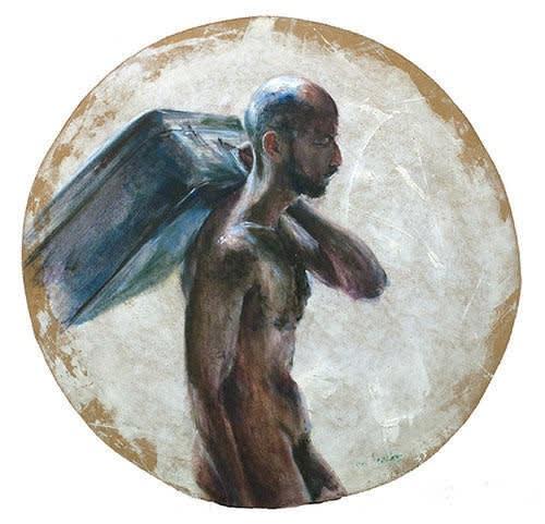 Sam Drukker - Man met koffer - 2017 - olieverf op hout - diameter 88 cm