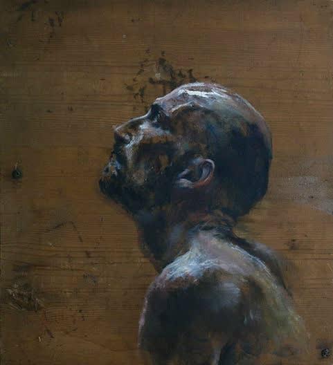 Sam Drukker - Man portret en profiel - 2017 - olieverf op hout - 43 x 39 cm