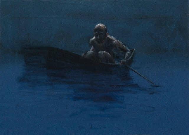 Sam Drukker - Roeier, blauw - 2017 - olieverf op doek - 35 x 50 cm