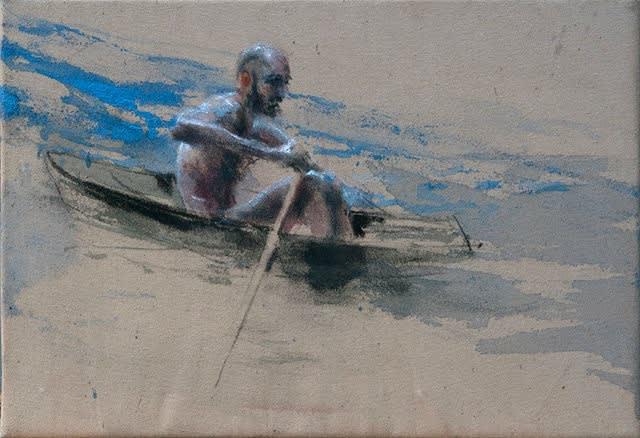 Sam Drukker - Roeier blauw - 2017 - olieverf op doek - 35 x 50 cm