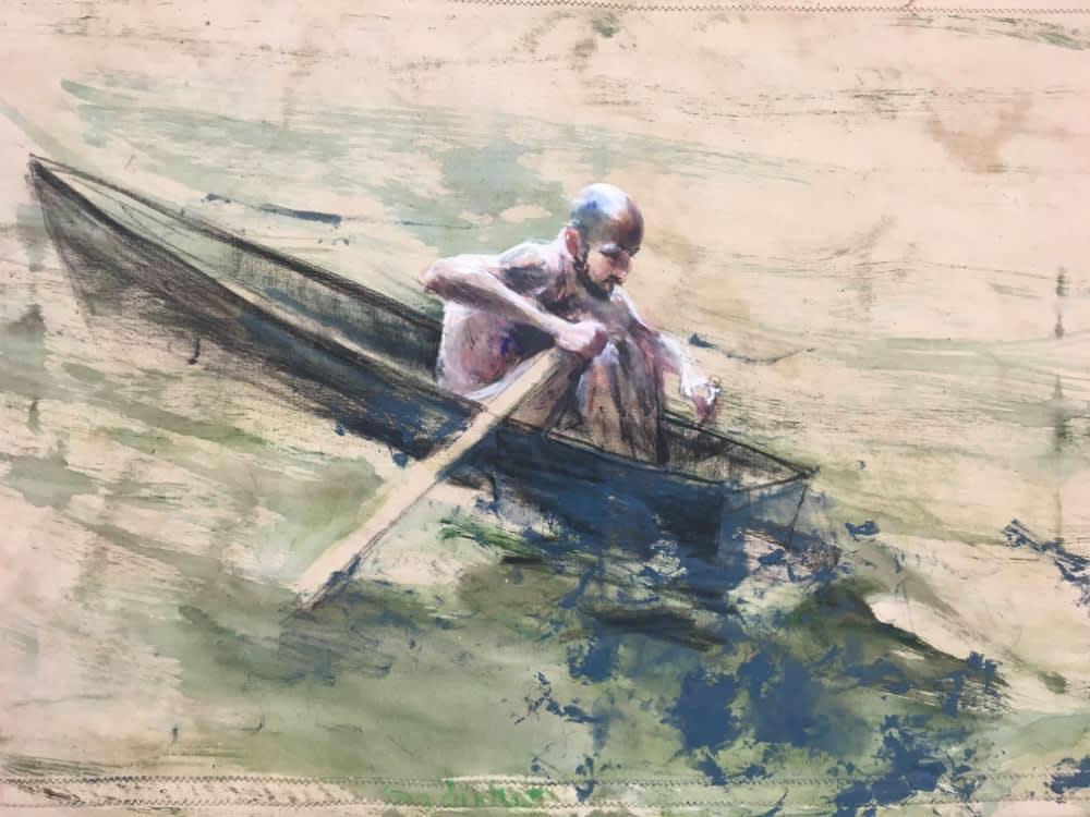Roeier blauw - 2017 - olieverf op doek - 50 x 70 cm