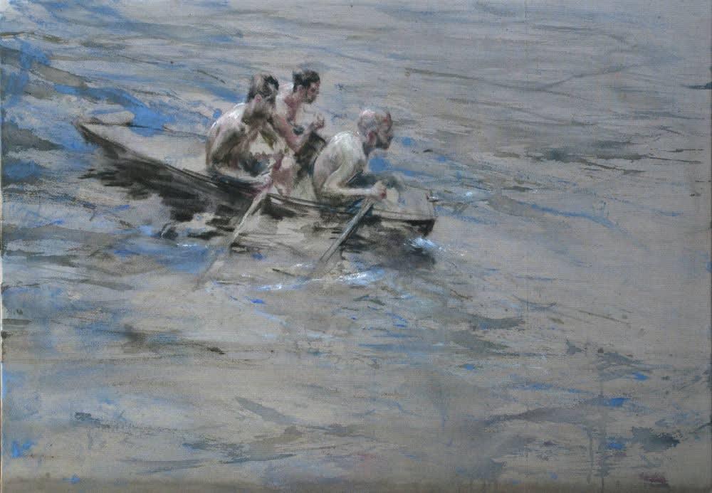 Sam Drukker - Drie roeiers in blauw - 2017 - olieverf op doek - 80 x 115 cm