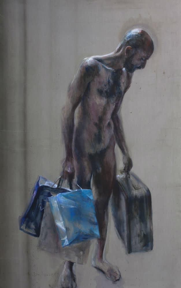 Man met koffer - 2017 - olieverf op doek - 200 x 125 cm
