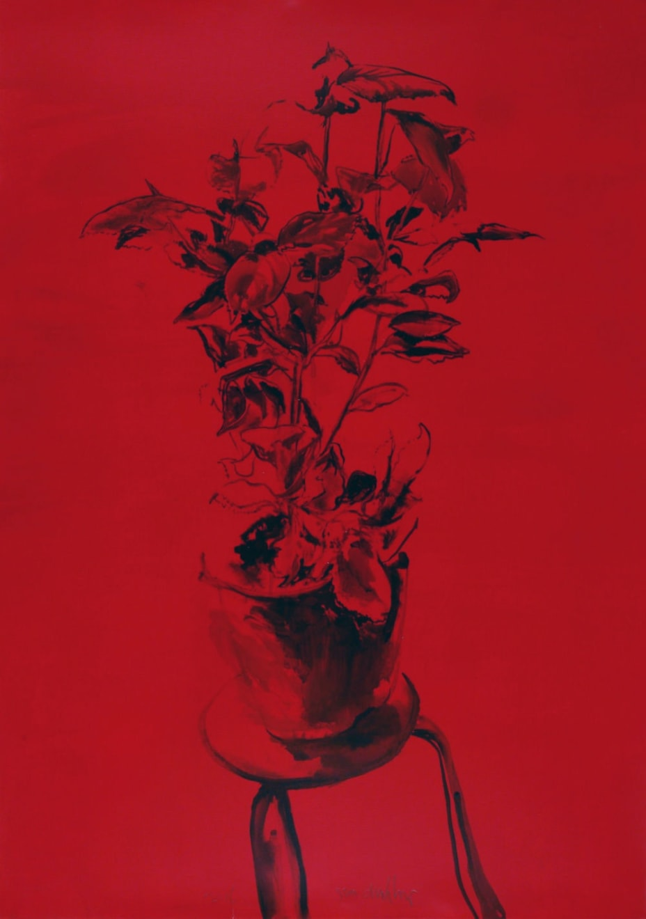 Sam Drukker - Plant of tafel - 2016 - acryl op papier - 115 x 80 cm