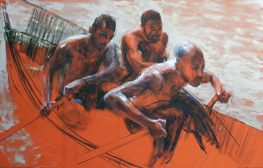 Sam Drukker - Roeiers oranje - 2017 - olieverf op doek - 125 x 200 cm
