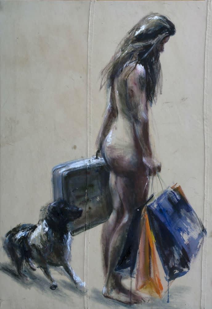 Sam Drukker - Vrouw met koffer - 2016 - olieverf op doek - 200 x 125 cm