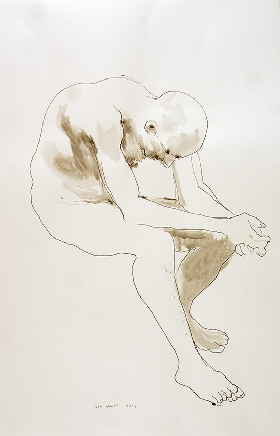 Sam Drukker - Zittende man - 2017 - gewassen inkt op papier - 50 x 33 cm