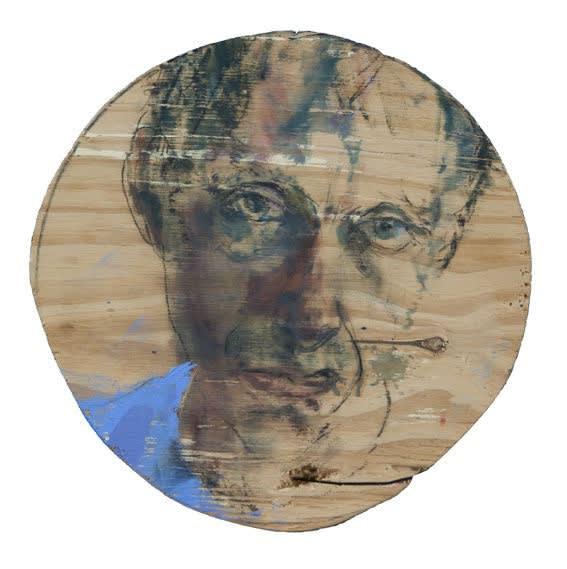Sam Drukker - Selfportrait with royal blue shirt - 2017 - olie op paneel - diameter 25,5 cm