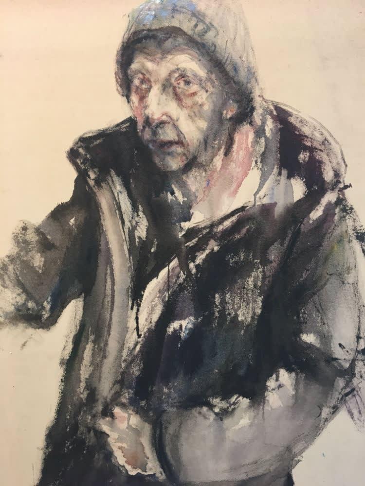 Sam Drukker - Zelfportret met muts - 2017 - olieverf op doek - 85 x 60 cm
