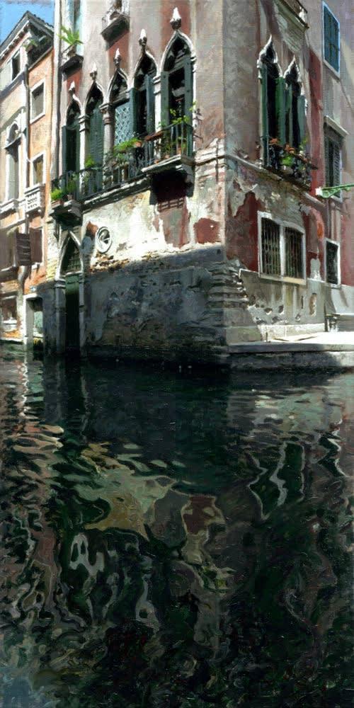 Jan Maris - Huis aan kanaal - 2016 - olieverf op doek - 70 × 35 cm