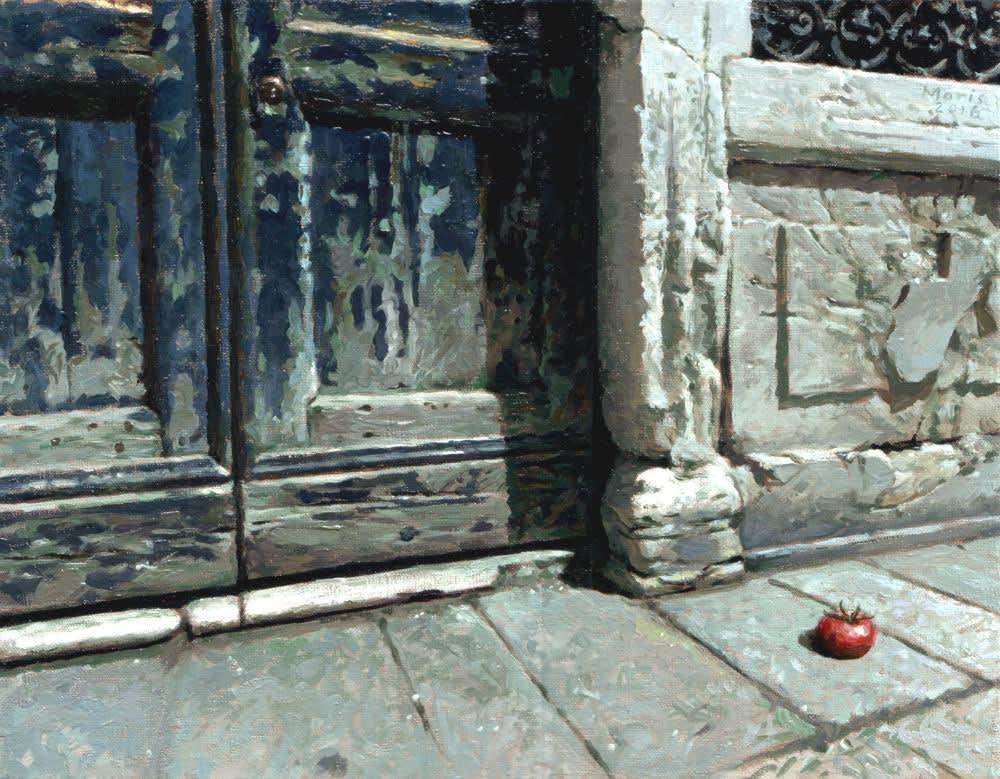 Jan Maris - Deur en tomaat - 2016 - olieverf op doek - 26 × 33 cm