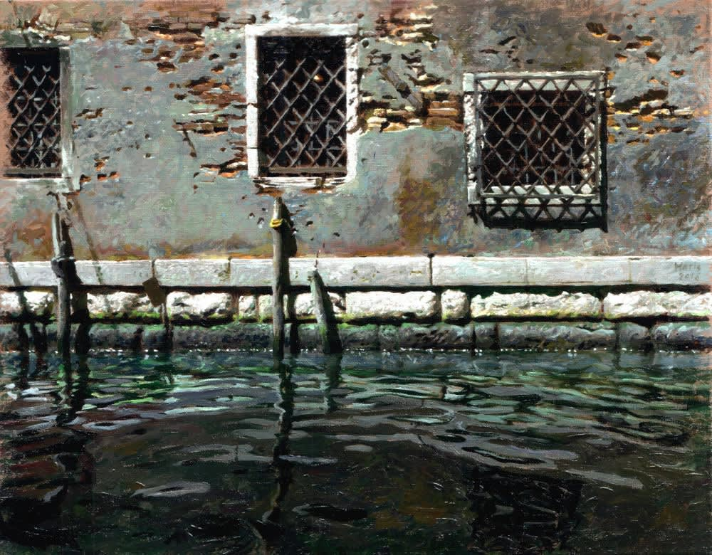 Jan Maris - Vensters aan kanaal - 2016 - olieverf op doek - 38 × 48 cm