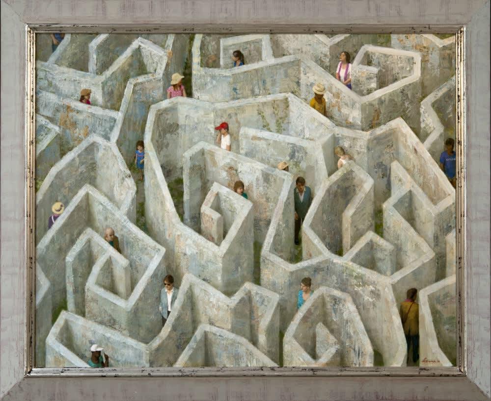 Kenne Grégoire - Labyrint - 2016 - acryl op doek - 100 × 80 cm