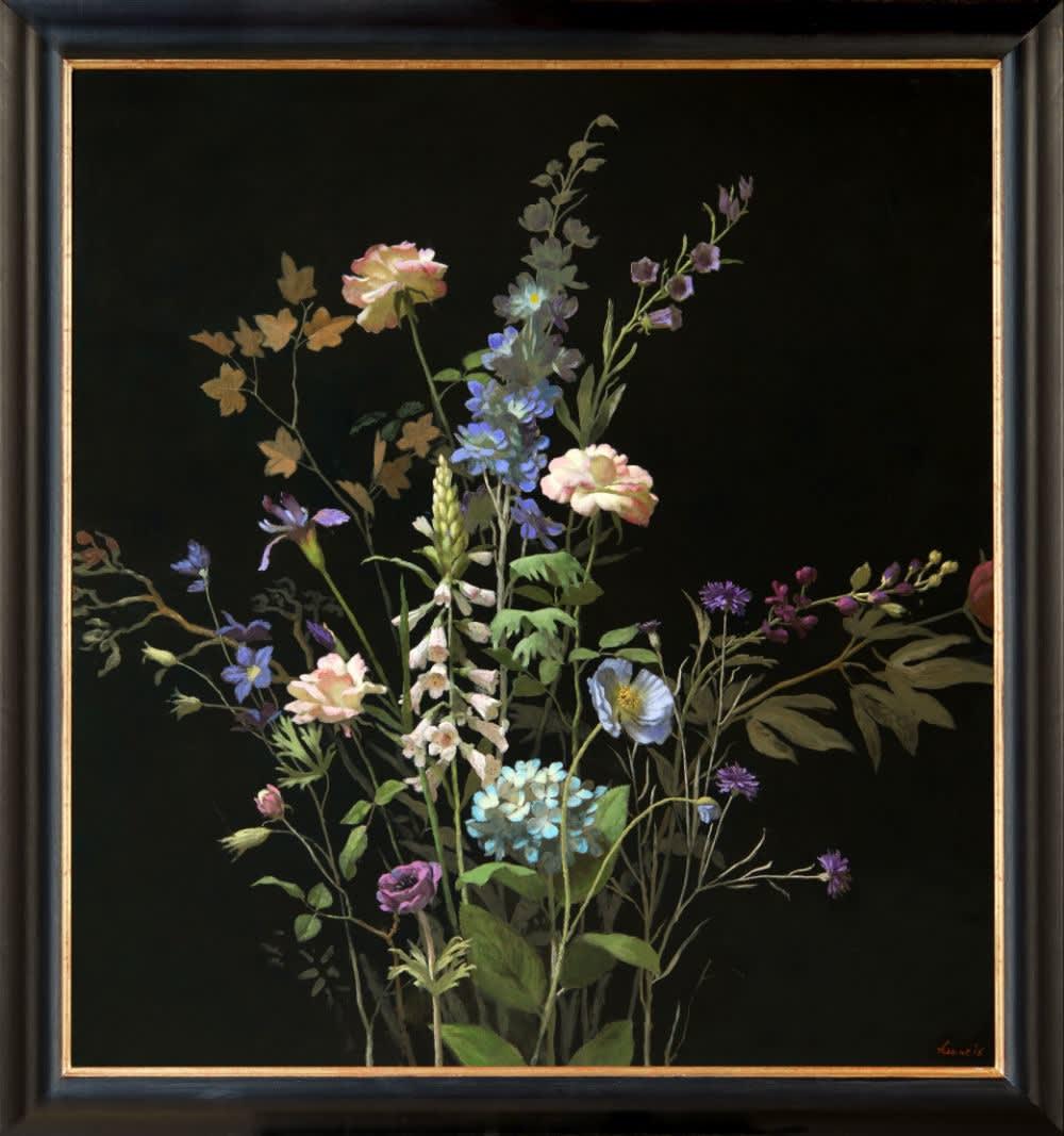 Kenne Grégoire - Nachtbloemen - 2016 - acryl op doek - 150 × 110 cm