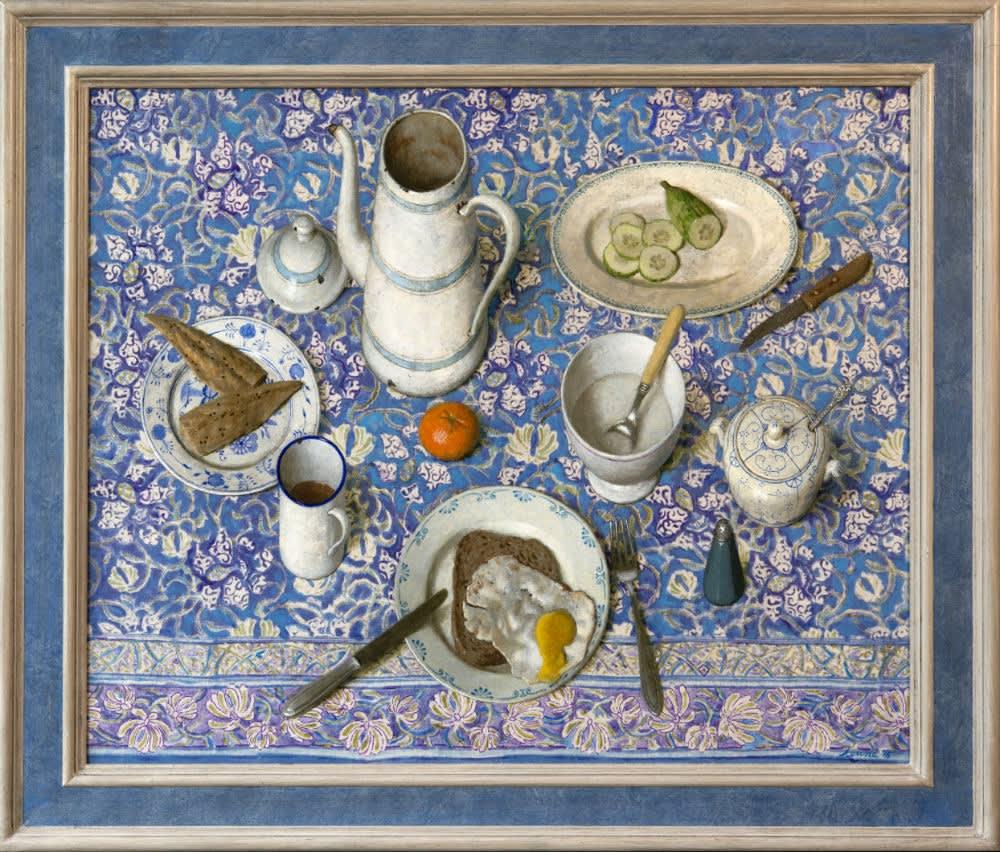 Kenne Grégoire - Vis en ei - 2016 - acryl op katoen en paneel - 70 × 87 cm