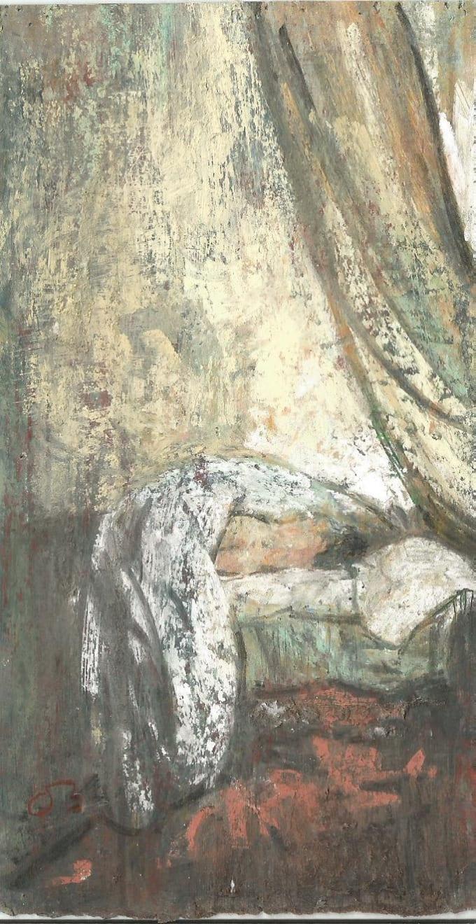 Onno Boerwinkel - La belle endormie - 2016 - pastel en gemengde techniek - 12 x 5,5 cm