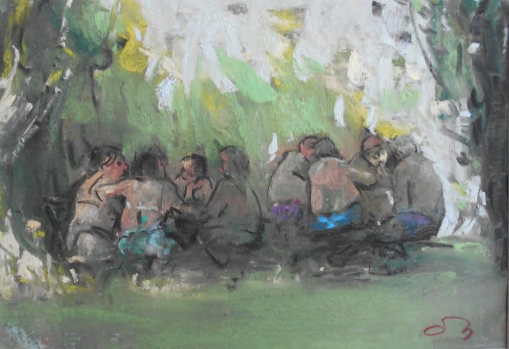 Onno Boerwinkel - Conversazioni al lago - 2012 - pastel en gemengde techniek - 11,5 x 17,5