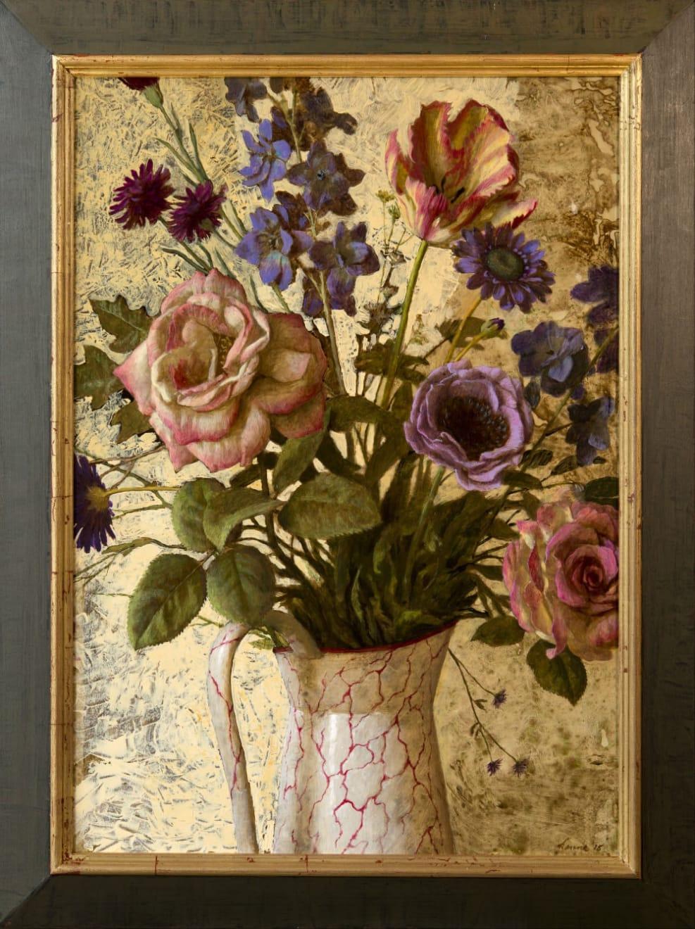 Kenne Grégoire - Bloemstilleven - 2016 - acryl op paneel - 85 × 56 cm