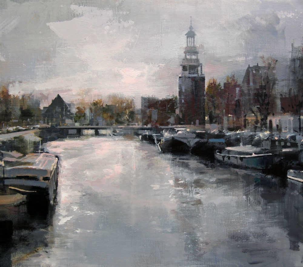 Urréjola - Amsterdam Canal - 2016 - olieverf op doek - 65 x 73 cm