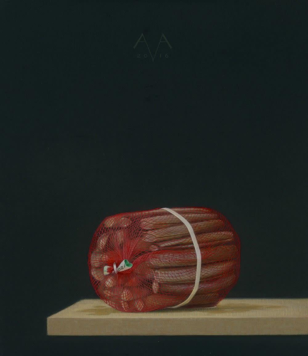 Arnout van Albada - Scheermessen - 2016 - eitempera en olieverf op paneel - 32,5 x 28 cm