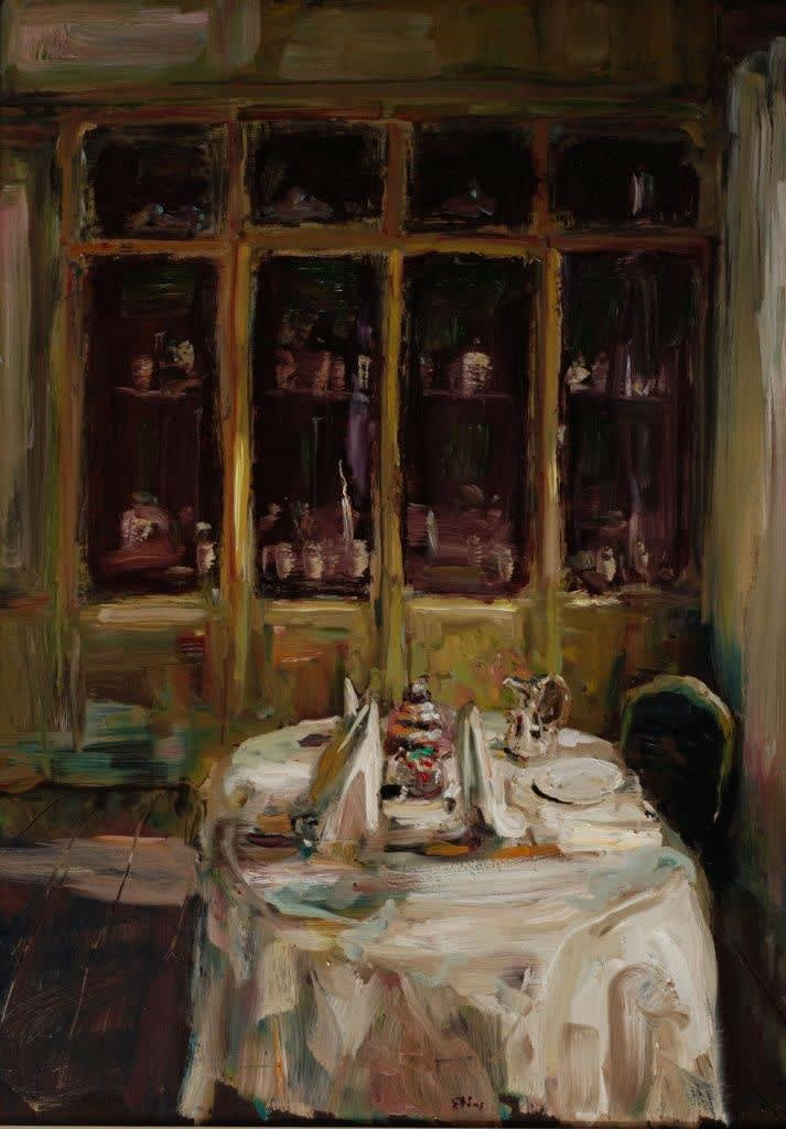 Douwe Elias - Gedekte tafel - 2016 - olieverf op paneel - 125 × 90 cm