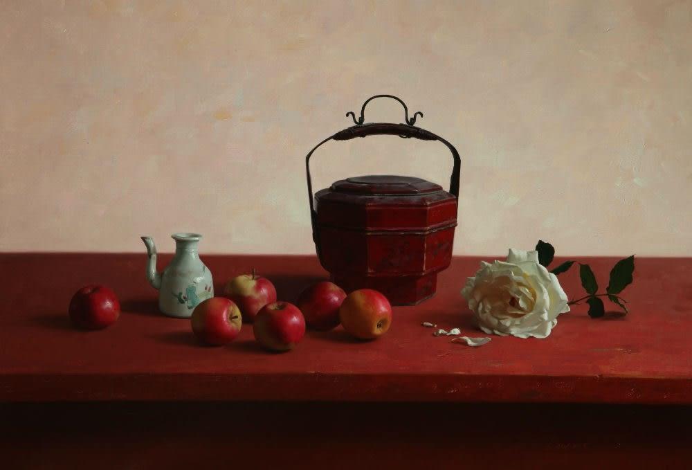 Qiangli Liang - Appels met roos - 2016 - olieverf op doek - 55 × 80 cm