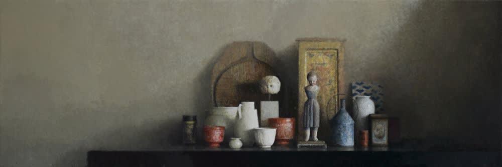 Pedro Escalona - Sobre la mesa - 2016 - olieverf op doek - 50 x 150 cm