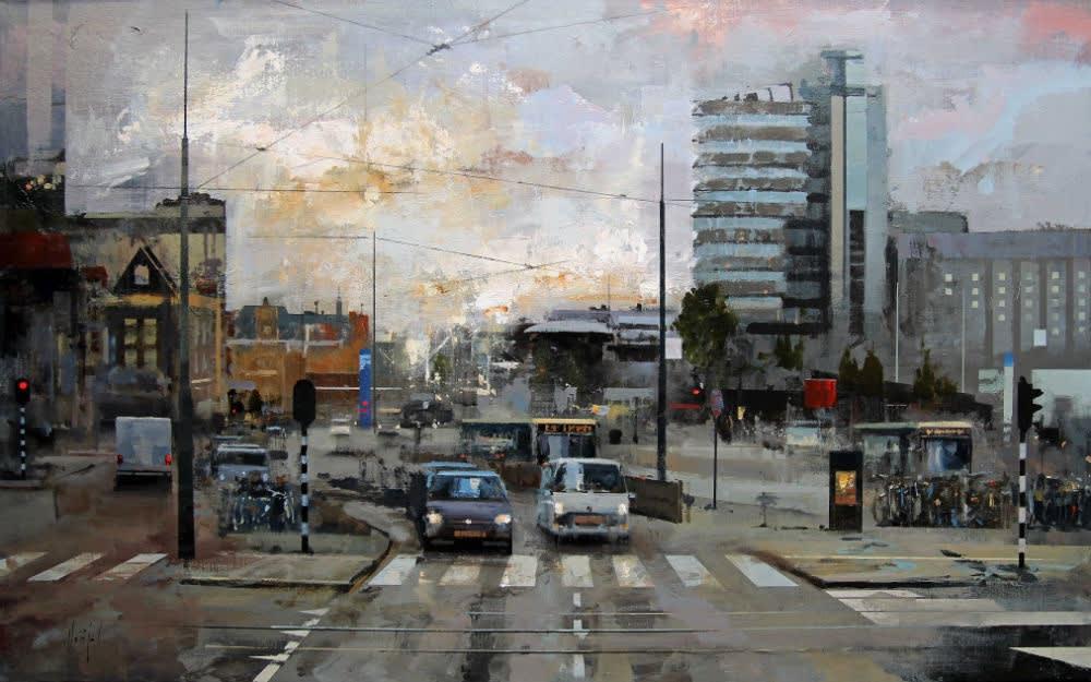 Urréjola - Wandelend door het centrum - 2015 - olieverf op doek - 81 x 130 cm