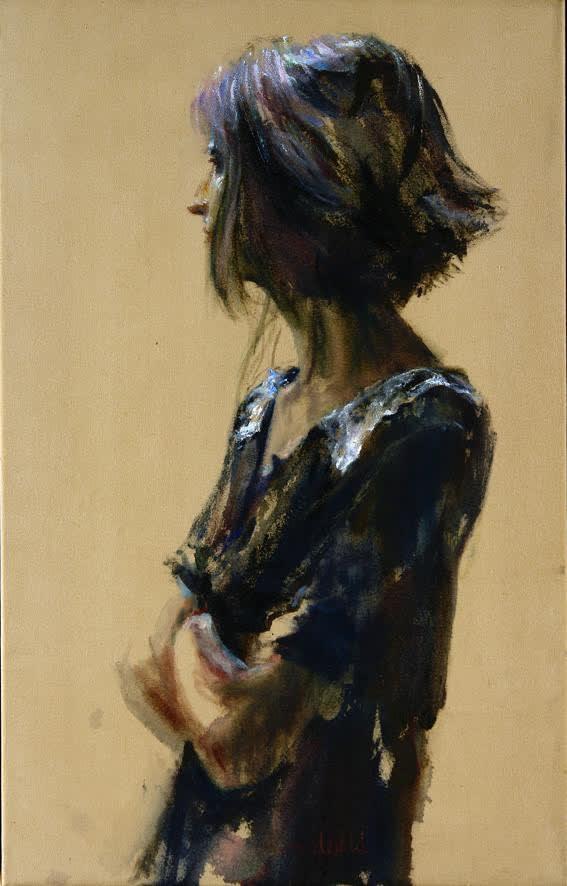 Sam Drukker - Vrouw in zwarte jurk - 2016 - olieverf op doek - 80 x 50 cm