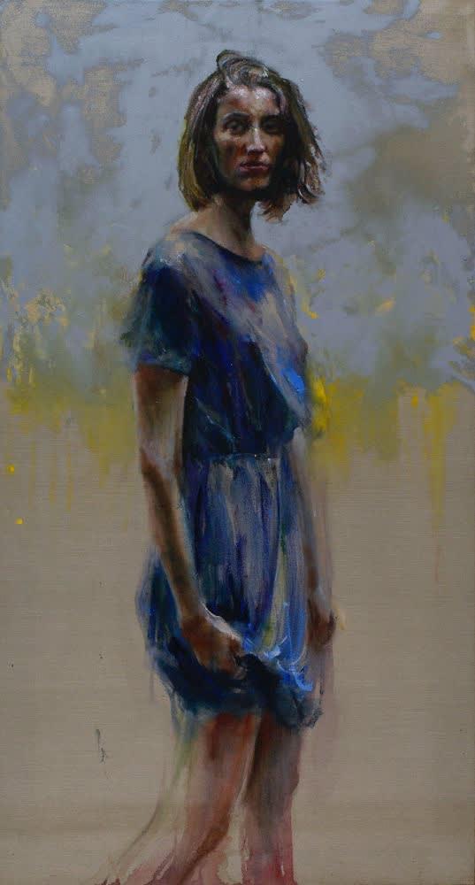 Sam Drukker - Vrouw in blauwe jurk - 2016 - olieverf op doek - 140 x 75 cm