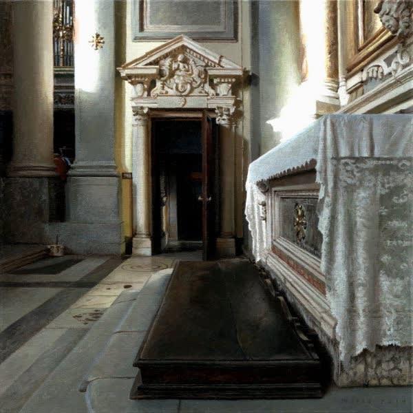Jan Maris - Deur en altaar - 2014 - olieverf op doek - 45 × 45 cm