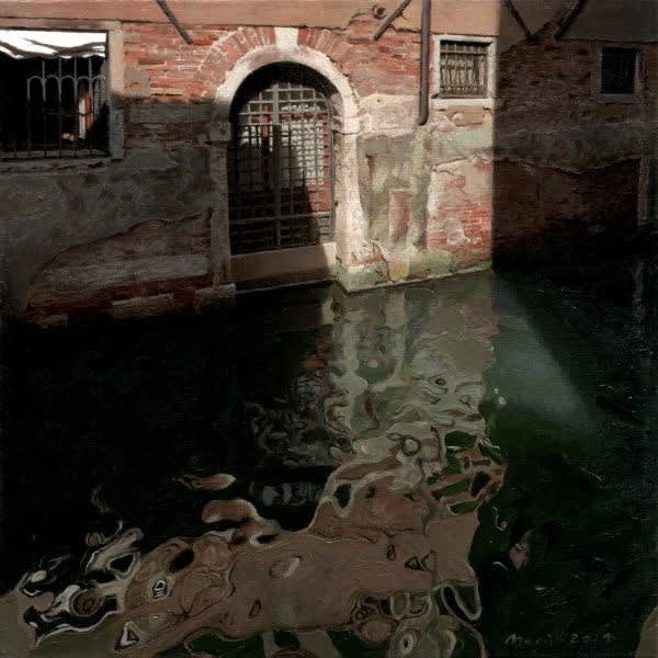 Jan Maris - Poort aan kanaal II - 2014 - olieverf op doek - 45 × 45 cm