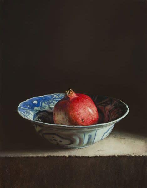 Erkin - Stilleven met granaatappel - 2014 - olieverf op paneel - 25 x 32 cm