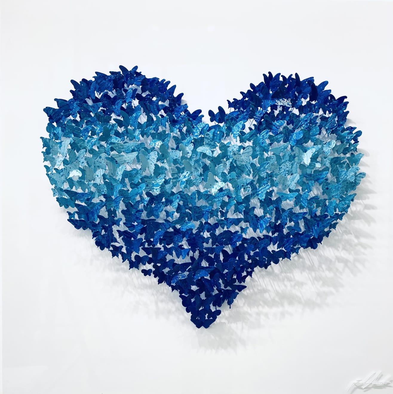 Joel Amit Flying Love (blue) Painted Metal Wall Sculpture 40 x 40 in