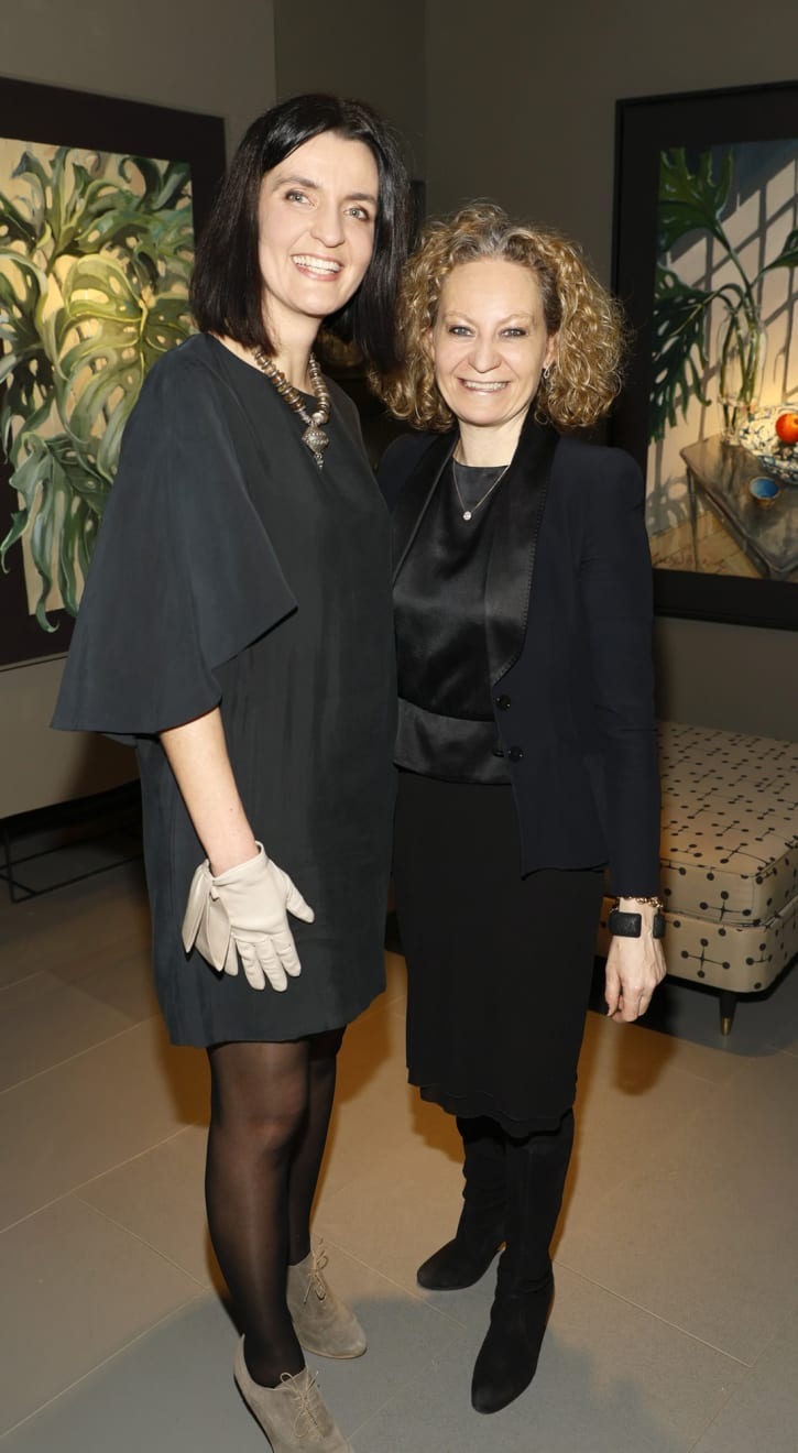 Agata Byrne and Paula Rowan at the opening of the 'Botanical Fusion. Singapore to Dublin' Exhibition