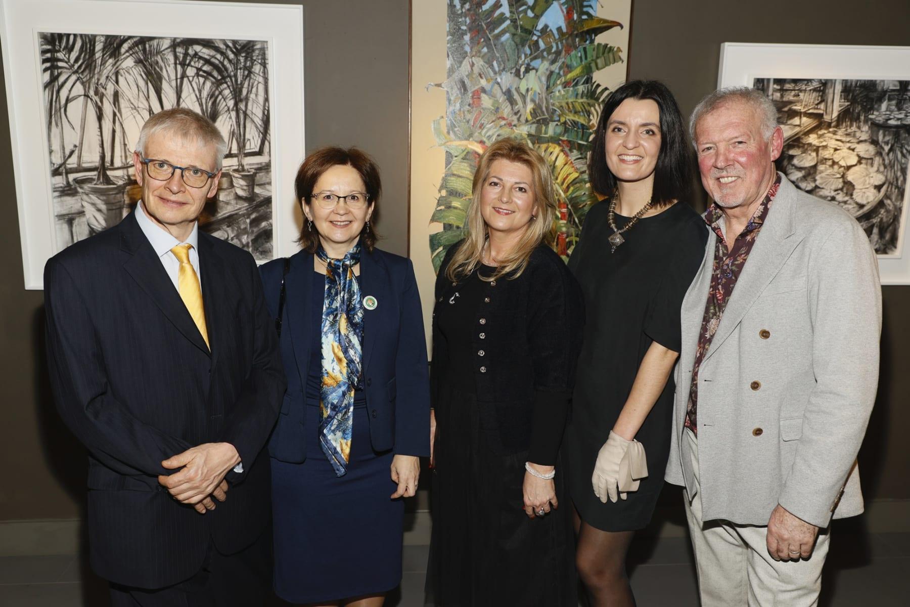 British Ambassador Robin Barnett, Polish Ambassador Anna Sochanska, Agnieszka Kepka, Agata and Gerad Byrne and at the opening of the 'Botanical Fusion. Singapore to Dublin' Exhibition