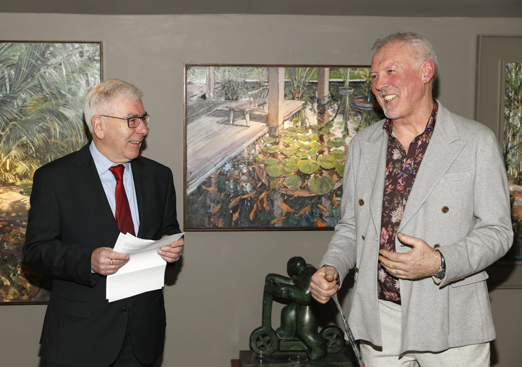 Ron Bolger Honorary Consul-General of Singapore in Ireland and Gerard Byrne at the opening of the 'Botanical Fusion. Singapore to Dublin' Exhibition