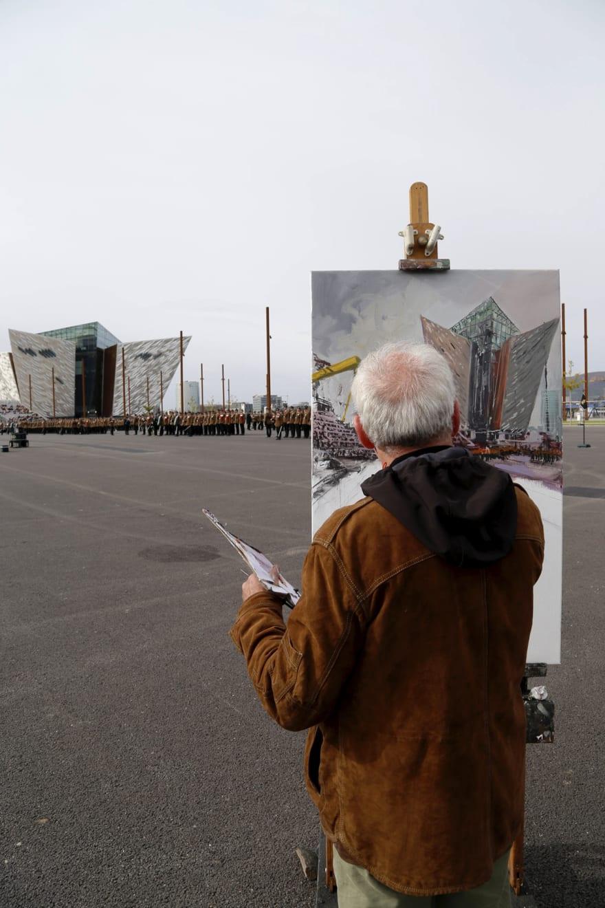 22 SEPTEMBER 2018 TITANIC SLIPWAYS, BELFAST Royal Irish Regiment, Presentation of New Colours 2018 RIR commission painting photo: Colm Murphy
