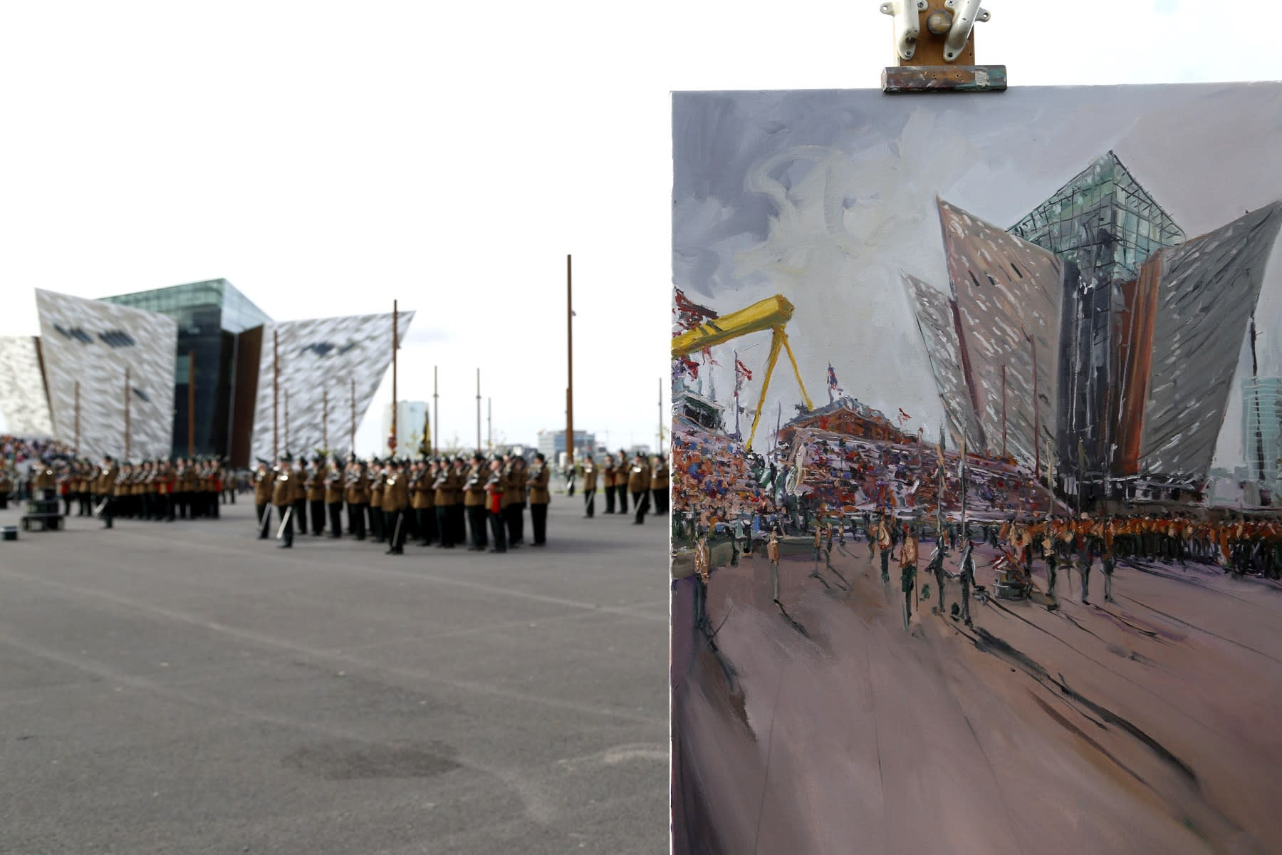 22 SEPTEMBER 2018 TITANIC SLIPWAYS, BELFAST Royal Irish Regiment, Presentation of New Colours 2018 RIR commission painting photo: Colm Murphy