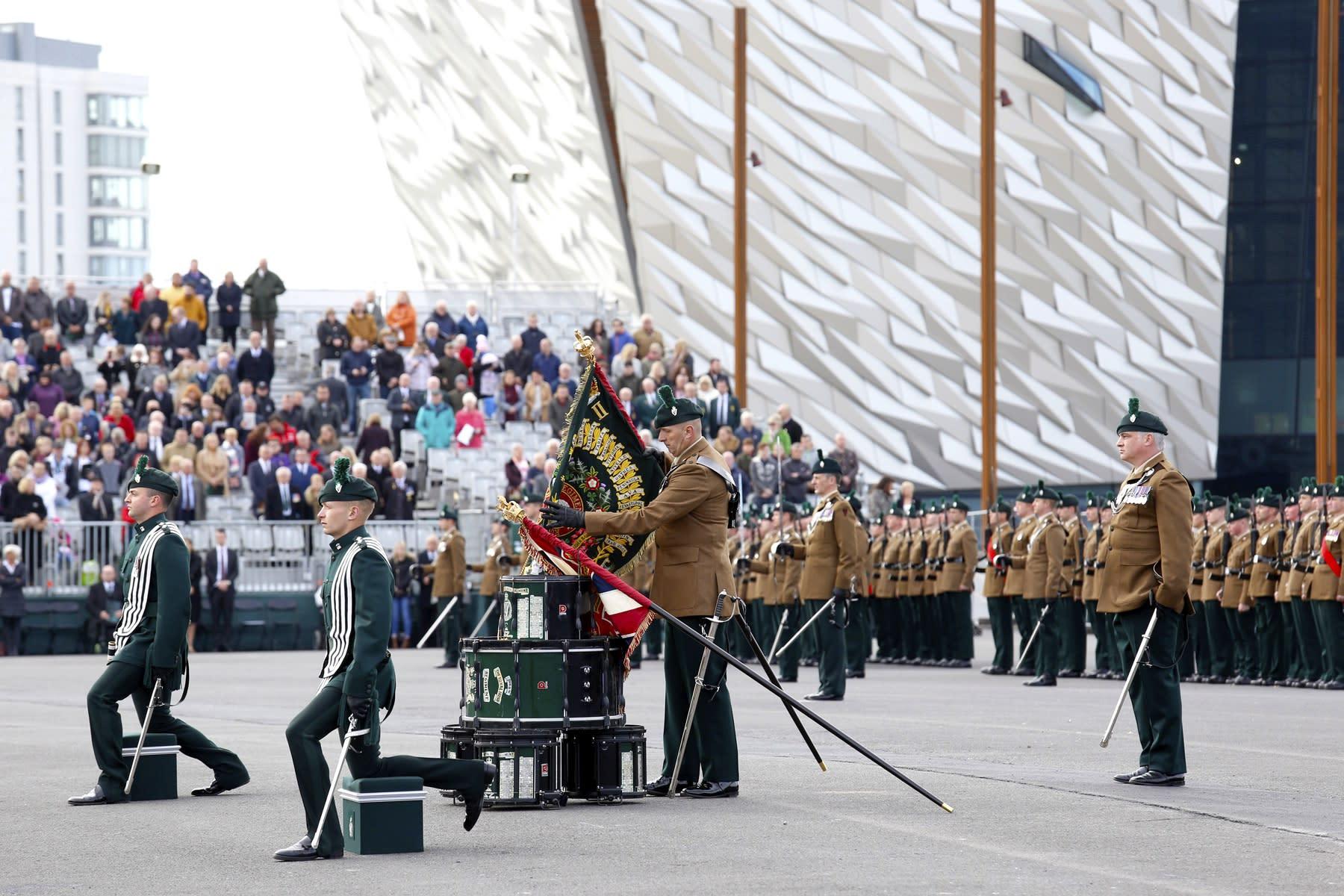 22 SEPTEMBER 2018 TITANIC SLIPWAYS, BELFAST Royal Irish Regiment, Presentation of New Colours 2018 photo: Colm Murphy