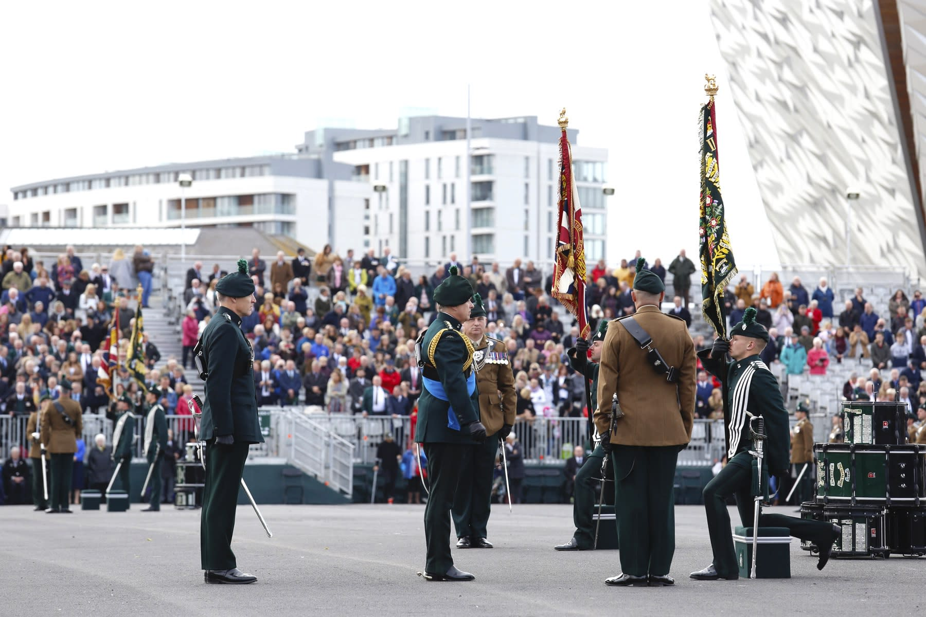22 SEPTEMBER 2018 TITANIC SLIPWAYS, BELFAST Royal Irish Regiment, Presentation of New Colours 2018 Prince Andrew presents the newly consecrated regimental colours photo: Colm Murphy