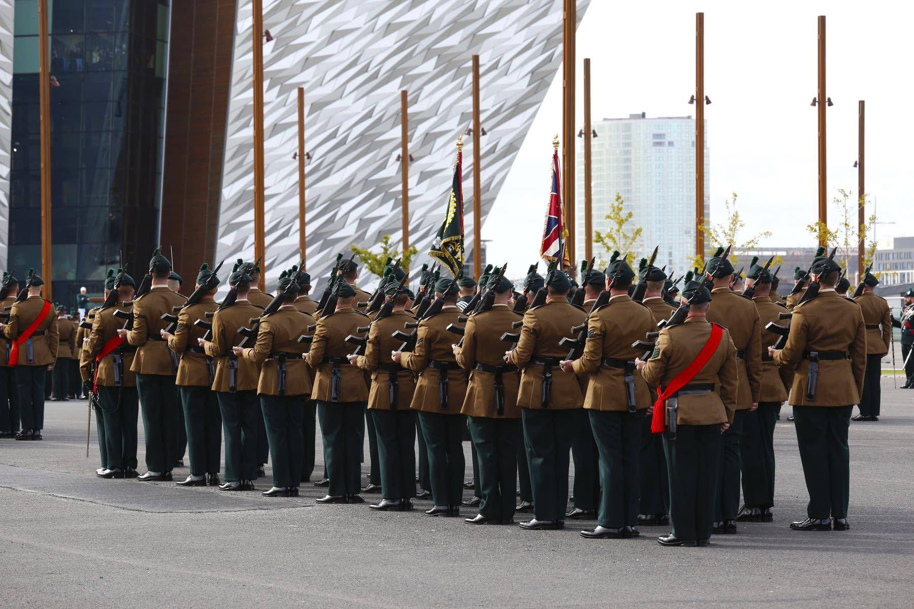 22 SEPTEMBER 2018 TITANIC SLIPWAYS, BELFAST Royal Irish Regiment, Presentation of New Colours 2018 photo: Colm Murphy