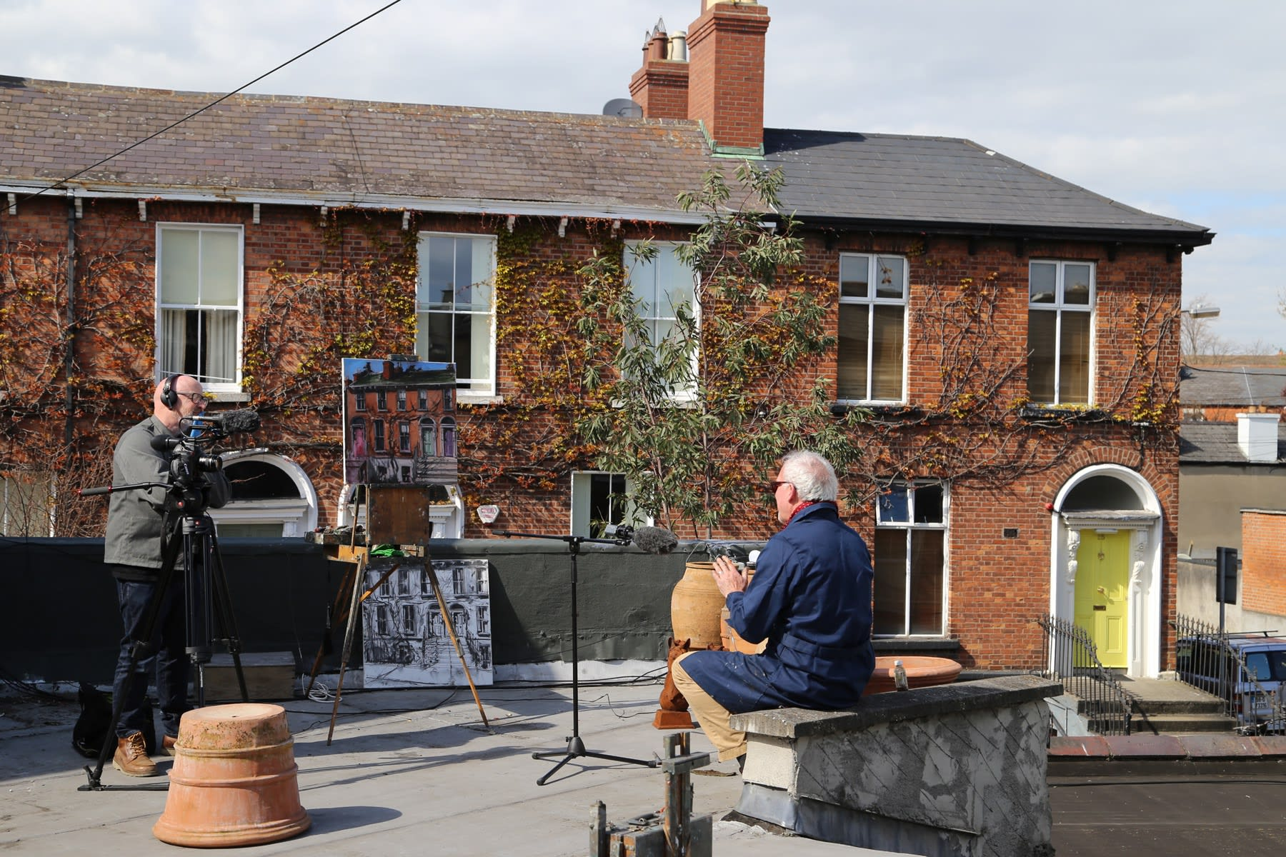 08 APRIL 2020 THE GERARD BYRNE STUDIO, RANELAGH, DUBLIN Gallery Rooftop, The Irish Times Video, behind the scenes video: Bryan O'Brien photo: Agata Byrne