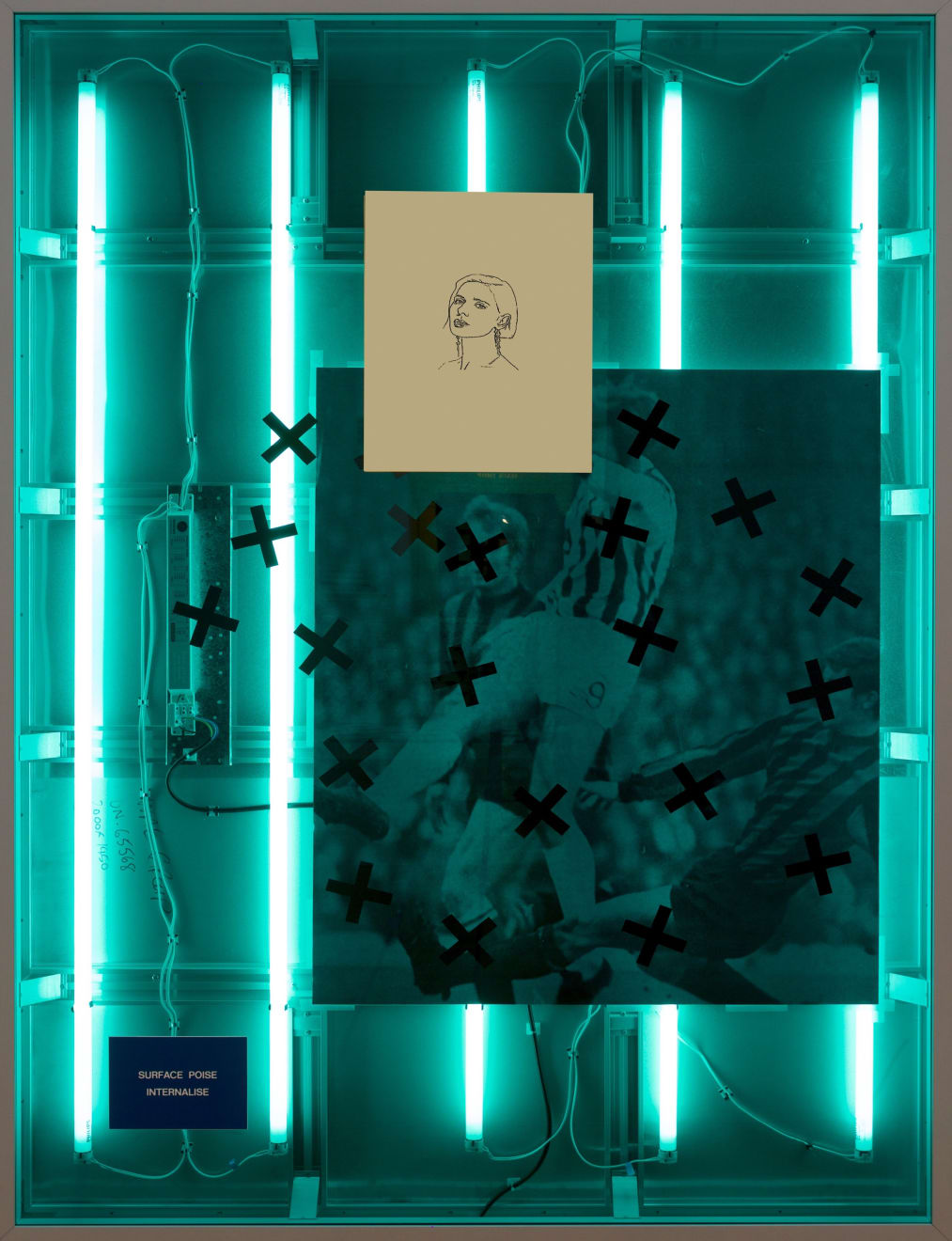 Simeon Barclay, Truly Madly Deeply #2, 2017, Aluminum Lightbox, Acrylic, Inkjet Print, Brass, 200 x 145 x 11.5 cm