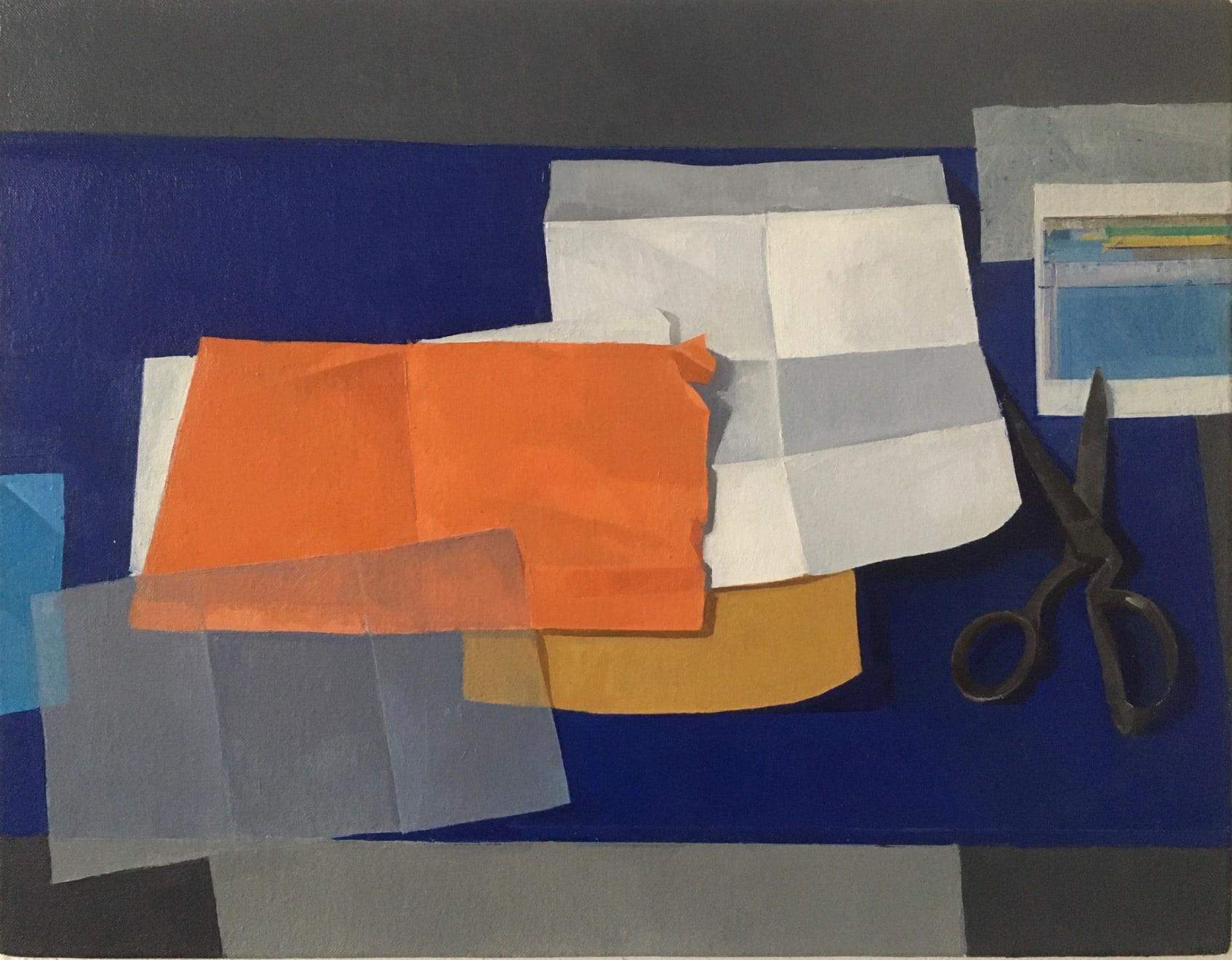 Paper Arrangement, Oil on linen, 35 x 45cm, £1250, Jason Line