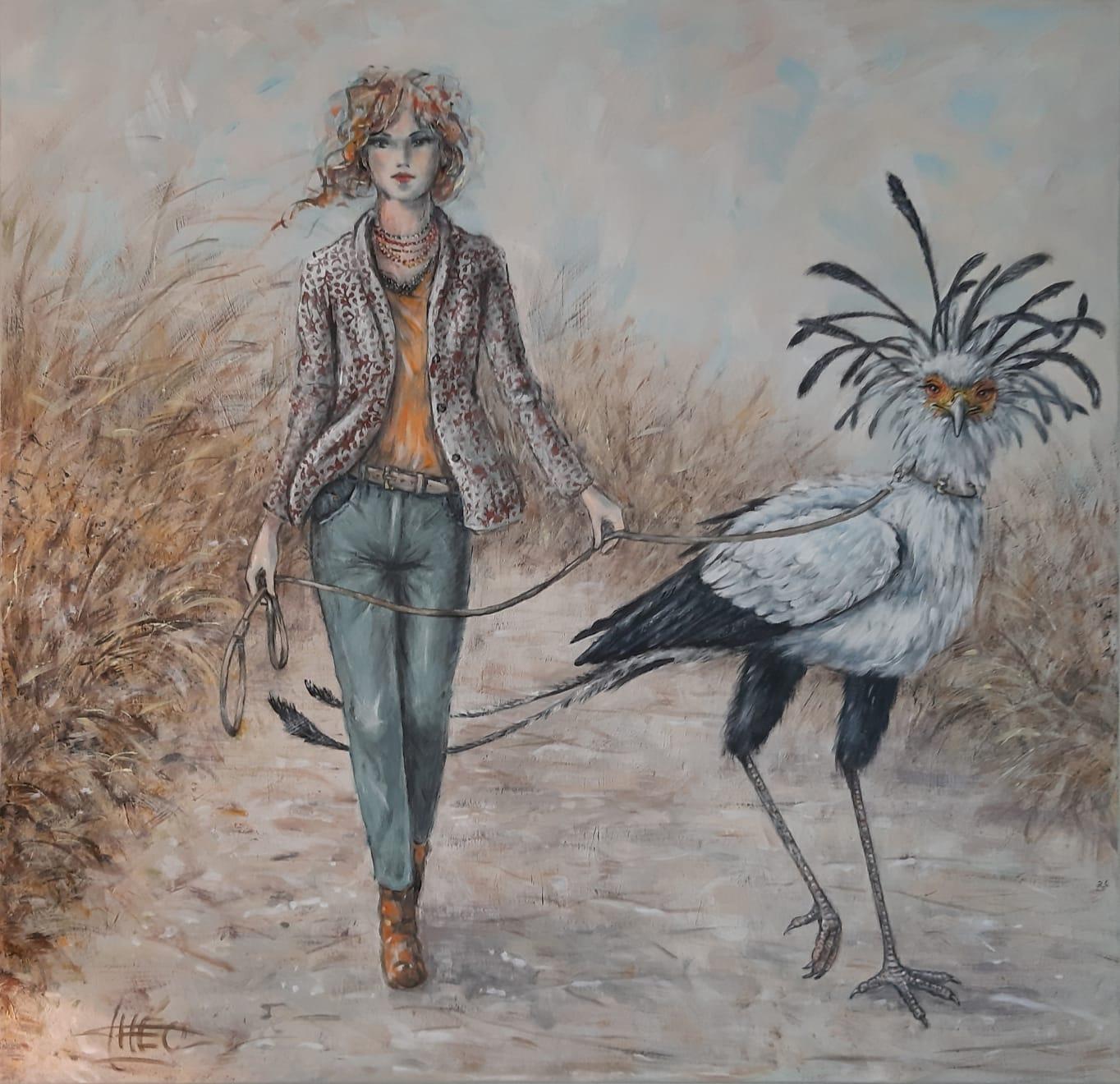 Walking the Secretary Bird (Secretaris Vogel) / Théo Schildkamp SOLD