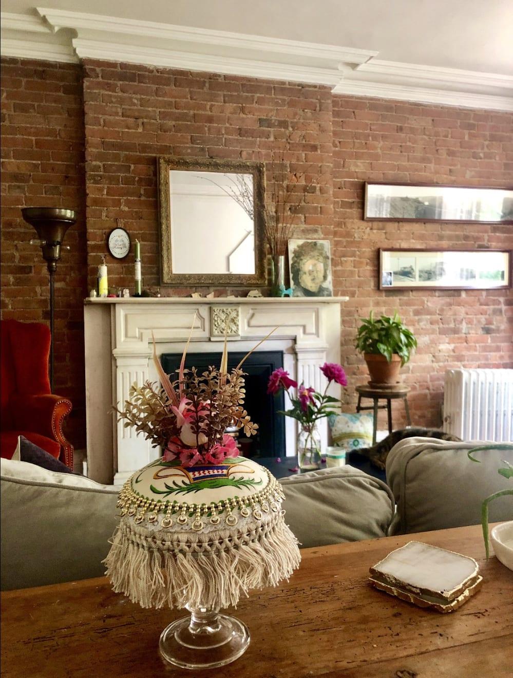 Max Colby Push 4, 2019 Found fabric, trim, fabric flowers, polyester batting, thread