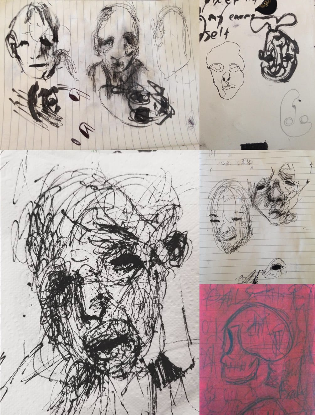 2010-2013│Scribbling these faces is where it all began. As a teenager, I was homeless and struggling with violent panic attacks. Out of desperation one day I grabbed a pen and started frantically scribbling. This became one of the only things that would distract me enough to stop a panic attack.