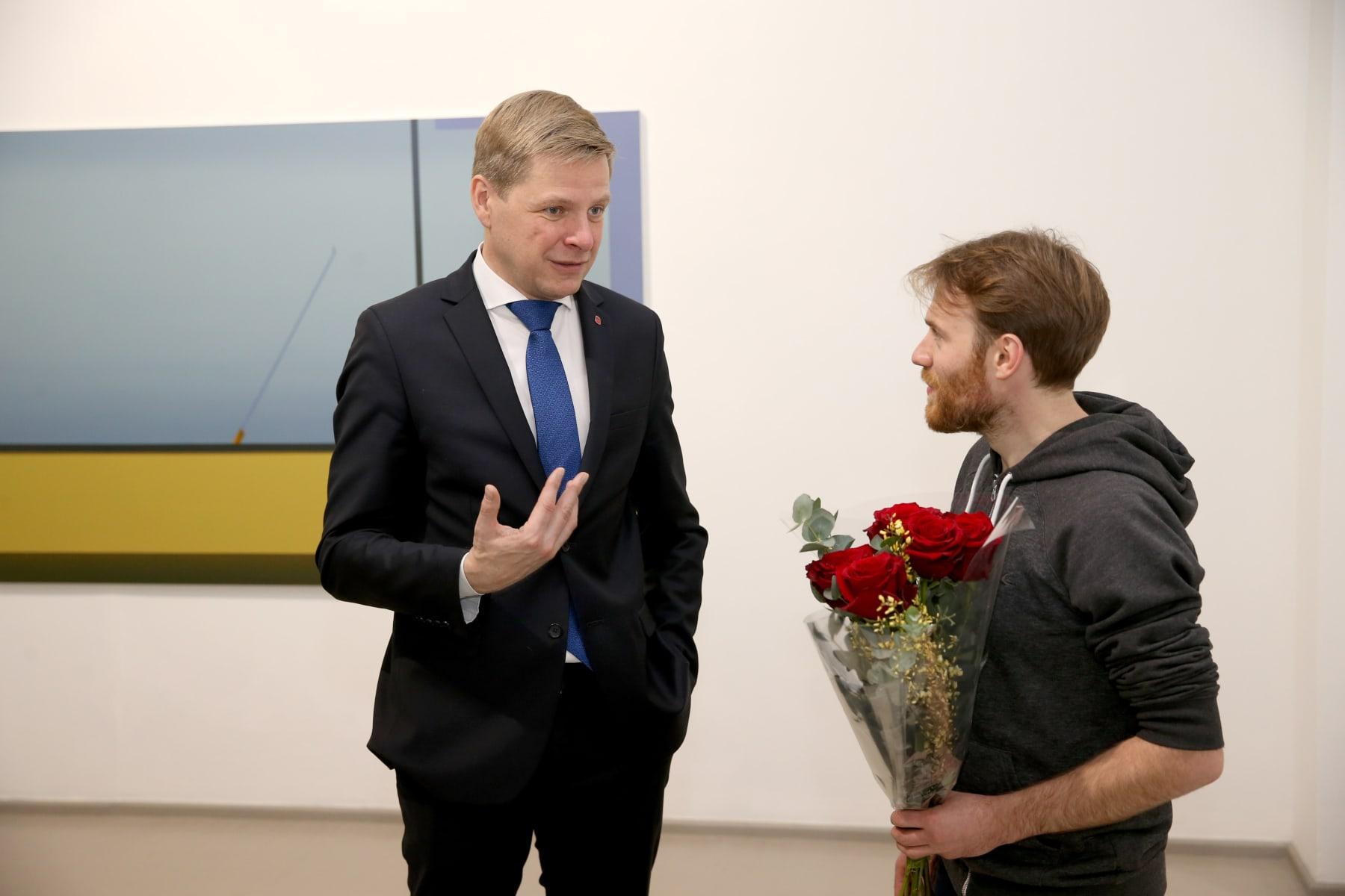 Galerija Vartai, 2019 Linas Jusionis and Mayor of Vilnius Remigijus Šimašius at the opening of Linas's solo exhibition