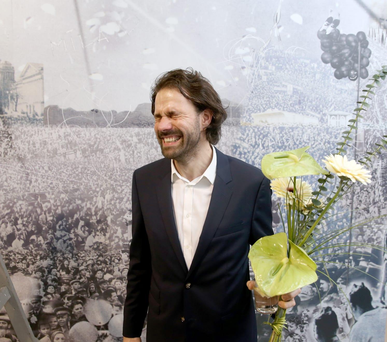Galerija VARTAI, 2018 Janis Avotins at the opening of his solo exhibition